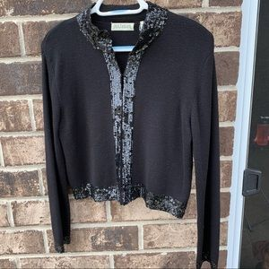 Ann Taylor black wool cardigan with sequins
